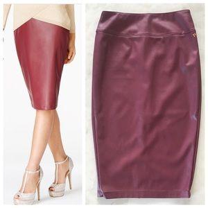 Thalia Sodi Burgundy Pleather Pencil Skirt